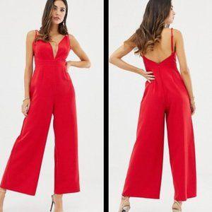 ASOS Design Red Strappy Culotte Leg Jumpsuit 8